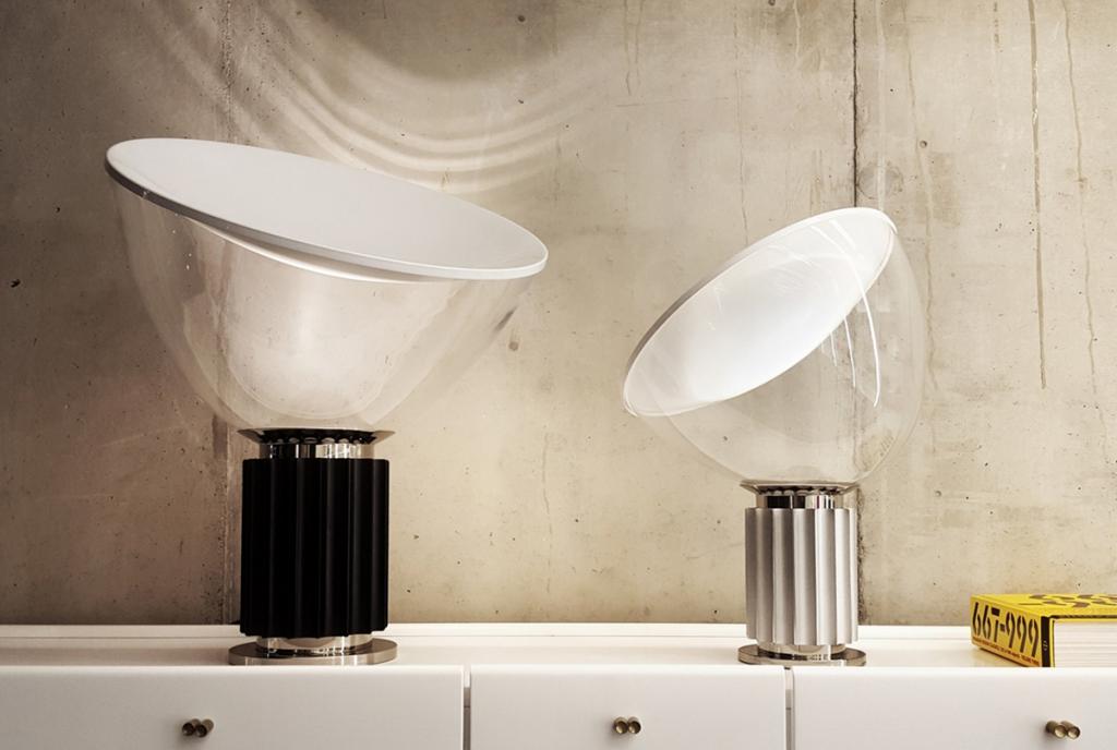 taccia small is gemaakt van glas aluminium en abspolycarbonaat de lamp is beschikbaar in geanodiseerd zilver en zwart